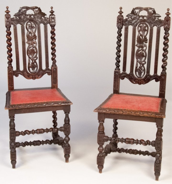Pair of 19th C. Elizabethan Revival Side Chairs