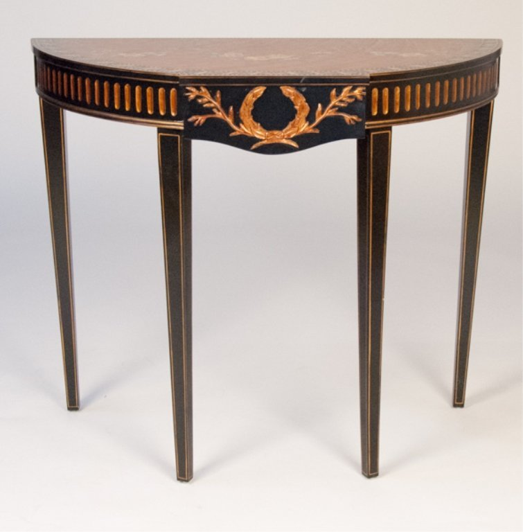 Ebonized and Painted Demilune Console Table