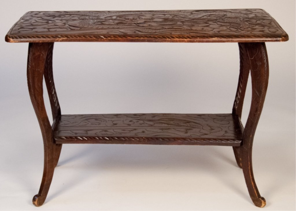 Heavily Carved Asian Style Console Table