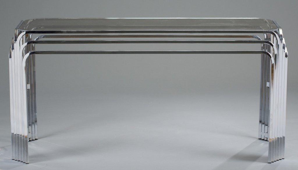 Milo Baughman Chromed Metal Console Table