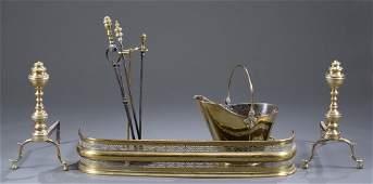 FourPiece Brass Fireplace Set