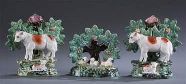 Three (3) 19th C. Staffordshire Bocage Pieces