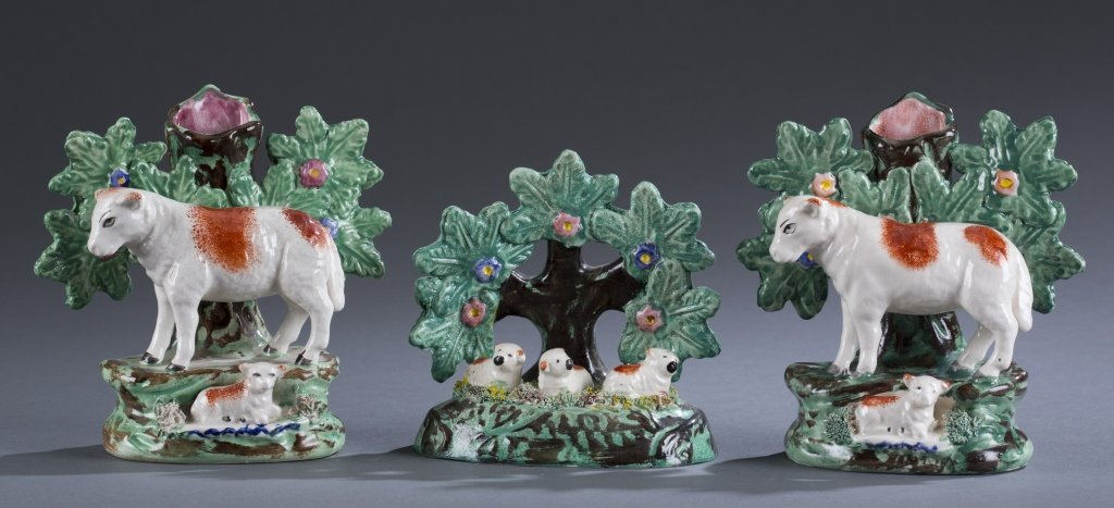 Three (3) 19th C. Staffordshire Bocage Pieces