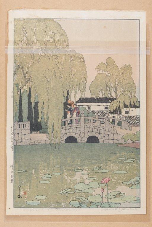 Hiroshi Yoshida Woodblock, Willow and Stone Bridge