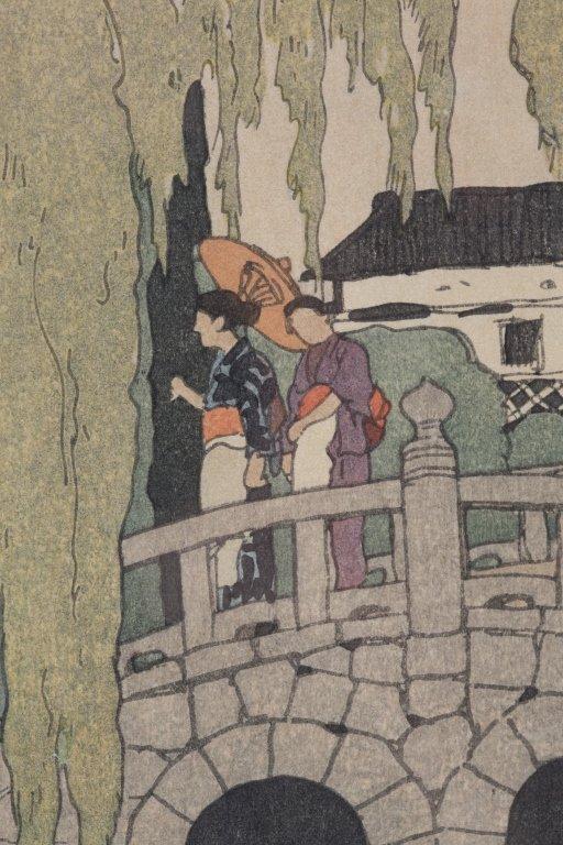Hiroshi Yoshida Woodblock, Willow and Stone Bridge - 2