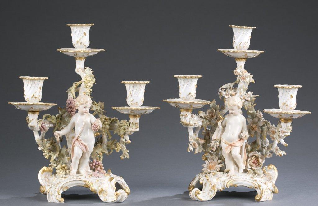 Pair of German KPM Porcelain Candelabra