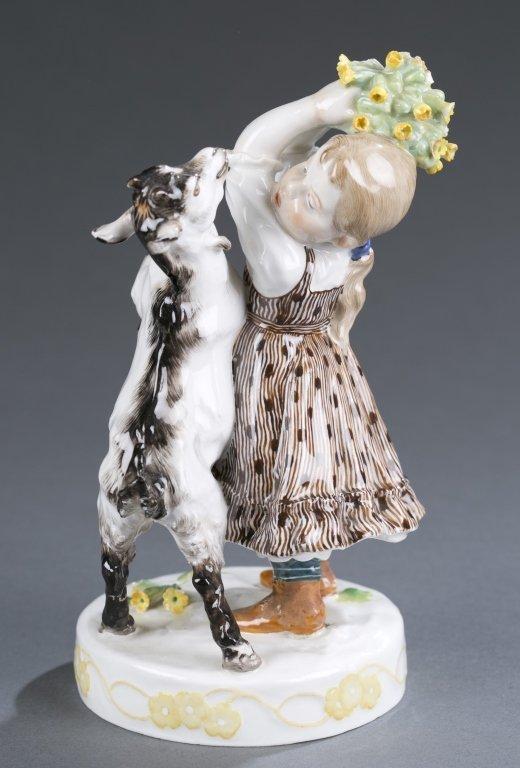 Meissen Figure of Girl with Goat