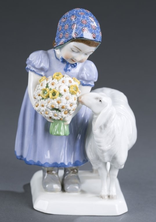 Meissen Figure of Girl with Sheep