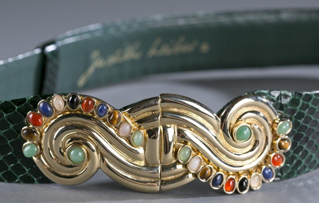 Judith Leiber Green Snakeskin Belt