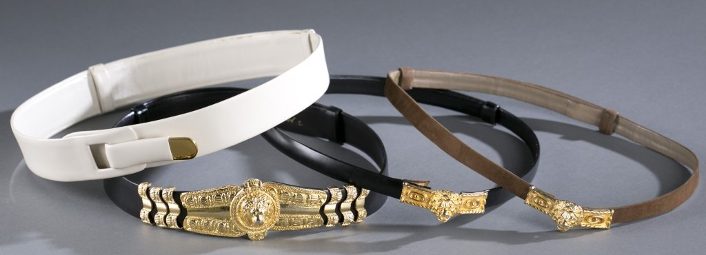 Four Judith Leiber Leather Belts