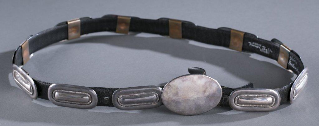Black Leather Hickock Pioneer & Silver Belt