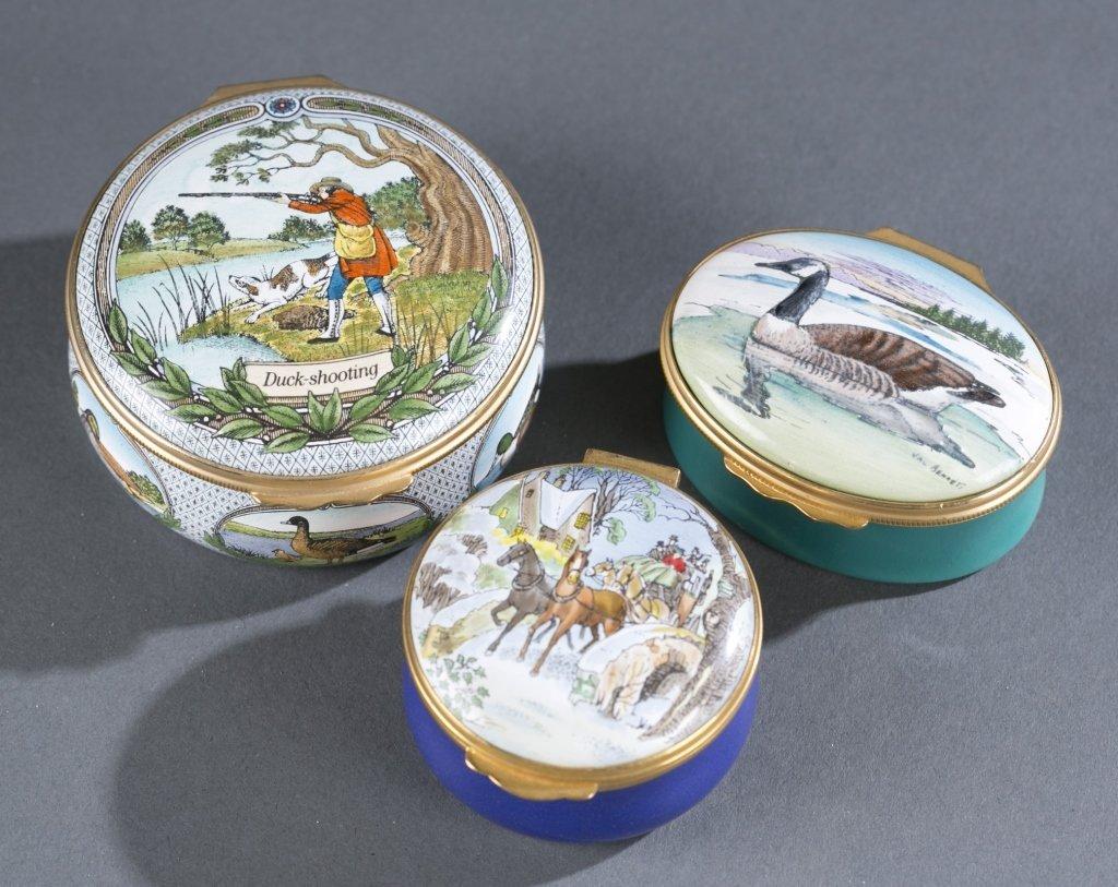 Three Enameled Porcelain Pill Boxes
