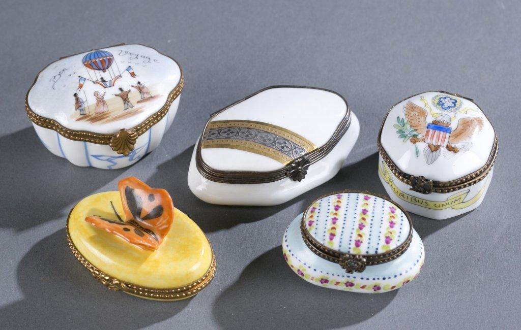 Five Limoges Porcelain Pill Boxes
