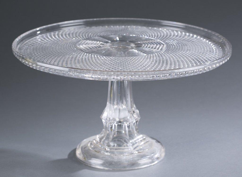 Ca. 1850 Flint Glass Pedestal Cake Plate