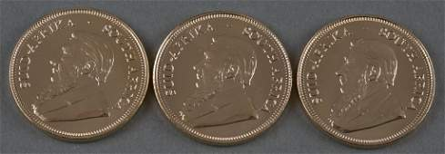 Three 2008 South Africa Krugerrand Gold Coins
