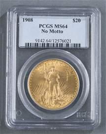 1908 Twenty Dollar Saint-Gaudens Gold Coin