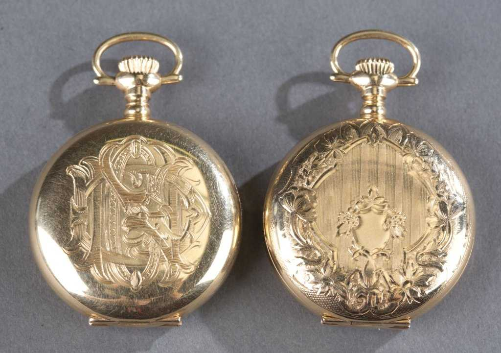 134ceb3329a2f5 Two A.W.C. Co. 14K Gold Pocket Watches