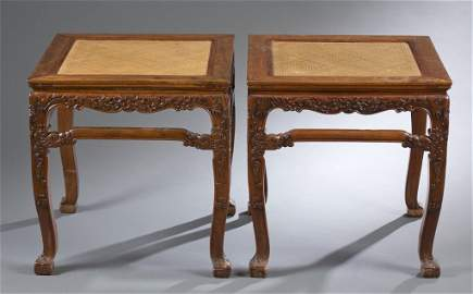 Important Pair of Huanghuali Cabriole Leg Stools