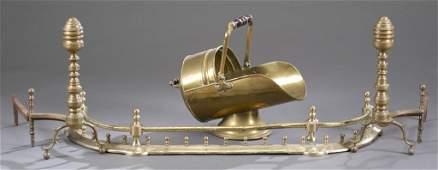 Four Piece Brass Fireplace Set