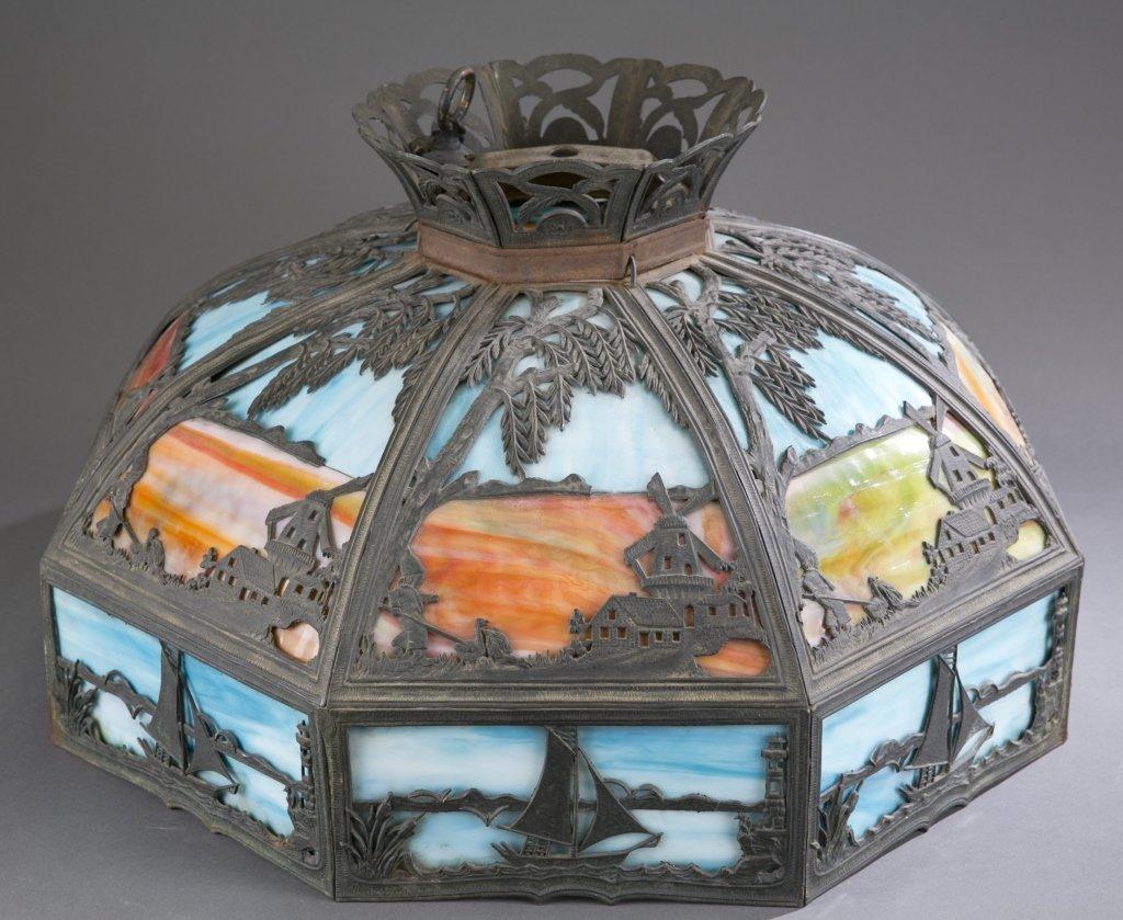 Ca. 1920-1930 White Metal Painted Slag Glass Lamp