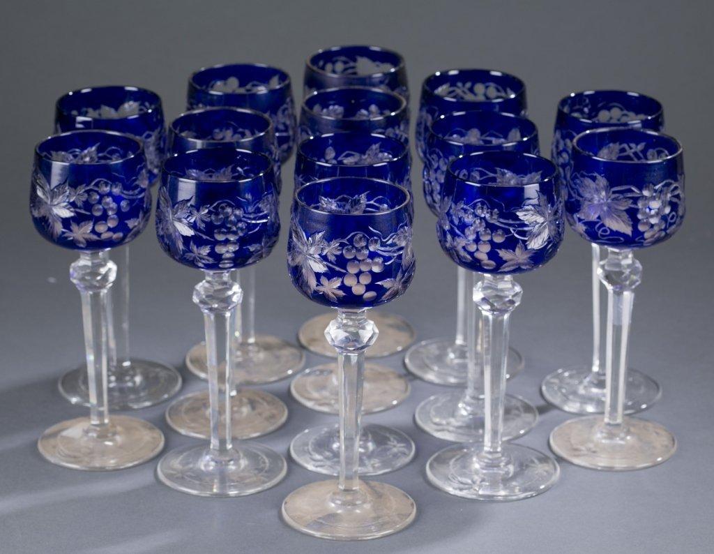 Fourteen 20th c. Cut Crystal Wine Glasses