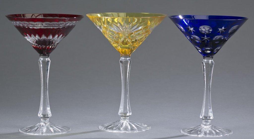 Three Fabergé Cut Crystal Martini Glasses