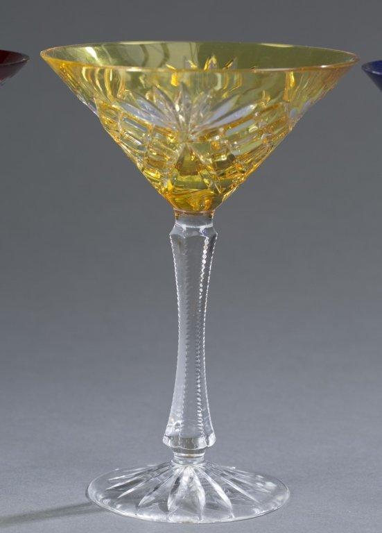 Three Fabergé Cut Crystal Martini Glasses - 3