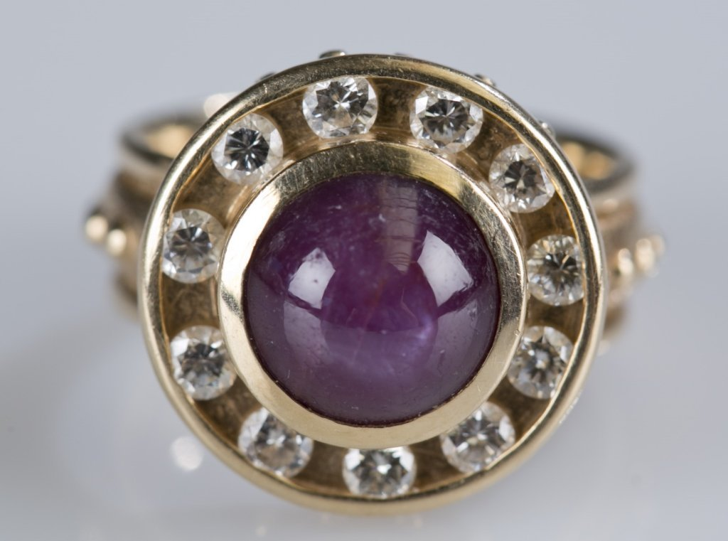 Star Ruby Ring with Diamond Accents