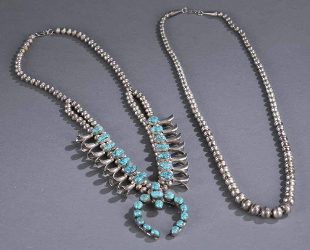 Sterling and Turquoise Squash Blossom Necklaces