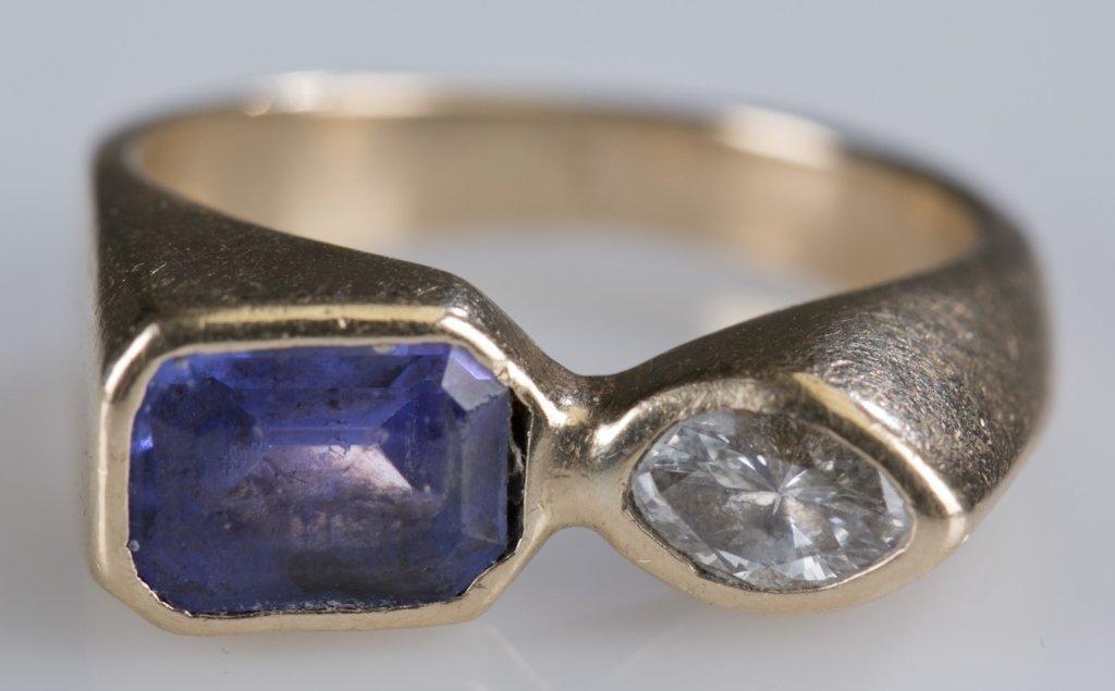 14K Yellow Gold, Diamond and Tanzanite Ring