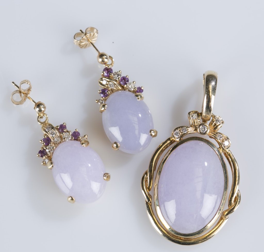 14K Yellow Gold and Lavender Jade Jewelry Set
