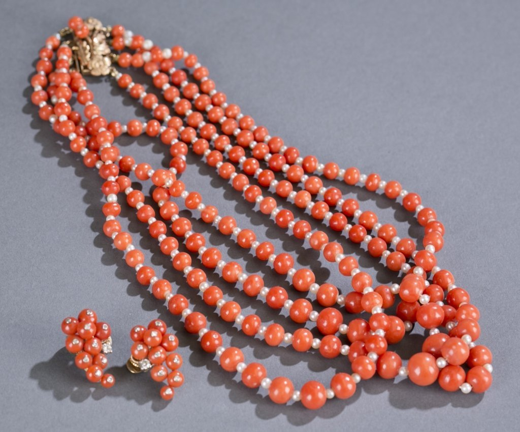 Cartier Four Strand Coral and Pearl Necklace