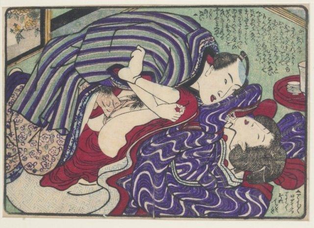 Five Utagawa School Shunga Color Woodblock Prints