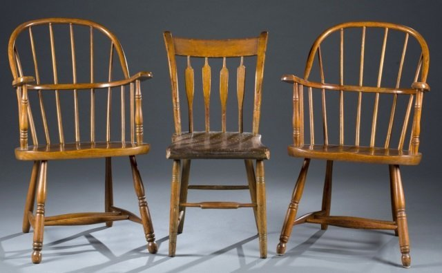 19th c. Trio of Spindle-Back Chairs.