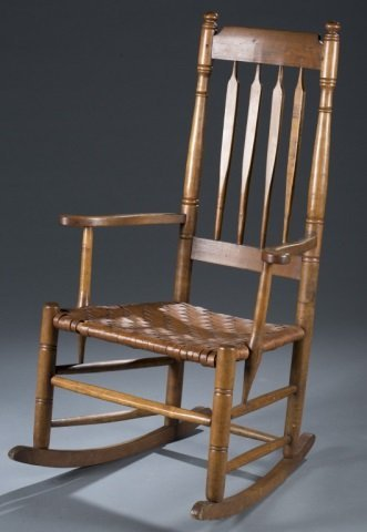 19th c. Spindle-Back Rocking Chair.