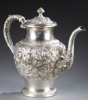S. Kirk & Son Inc. Sterling Repousse Coffee Pot.