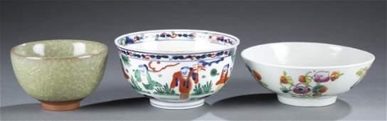 Trio of Ming & Qing Dynasty Bowls.