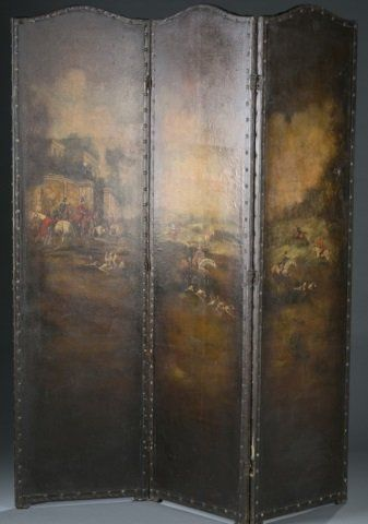 19th c. Painted Leather Three-Panel Screen.
