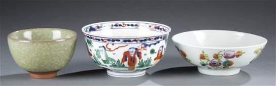 Trio of Ming-Style & Qing Dynasty Bowls.