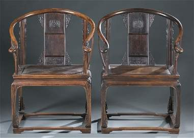 Pair of Late Qing Rosewood Horseshoe Armchairs.