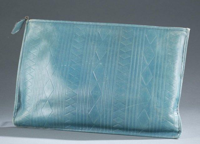 Fendi Blue Textured Leather Clutch c.1970s.