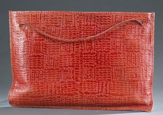 Fendi Red Textured Leather Clutch c.1970s.