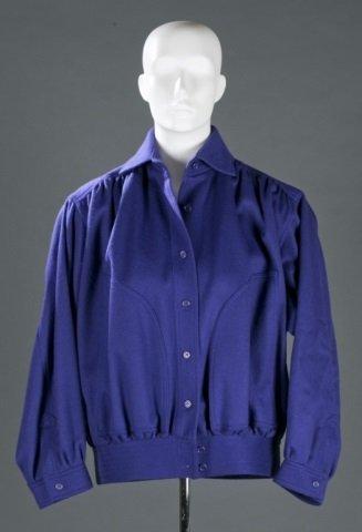 Saint Laurent Paris Blue Wool Bomber Jacket.