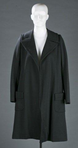 Halston Black Wool Long Coat, c.1970s.