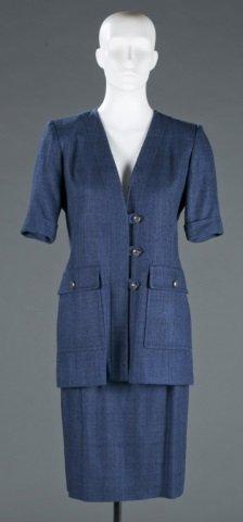 Yves Saint Laurent Blue Silk Skirt Suit, c.1980s.