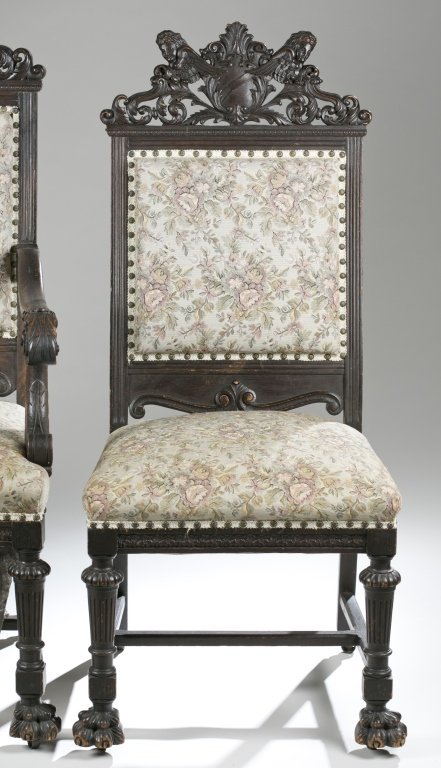 Eight Ornately Carved Jacobean Revival Chairs. - 2
