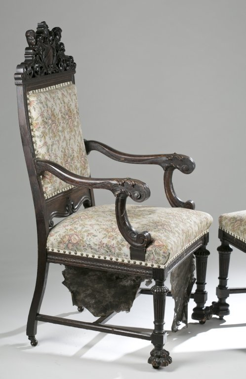 Eight Ornately Carved Jacobean Revival Chairs. - 4