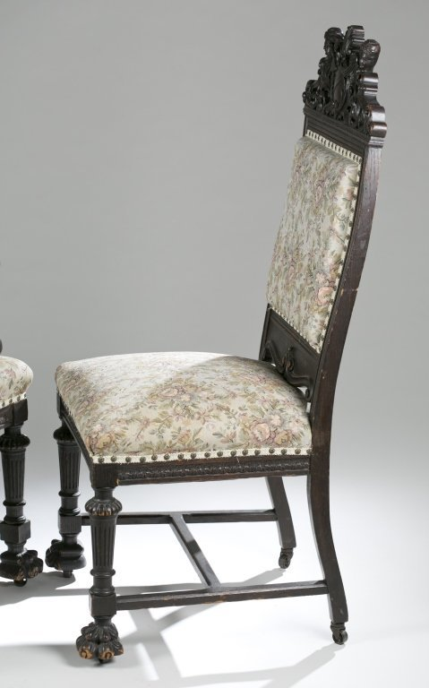 Eight Ornately Carved Jacobean Revival Chairs. - 5