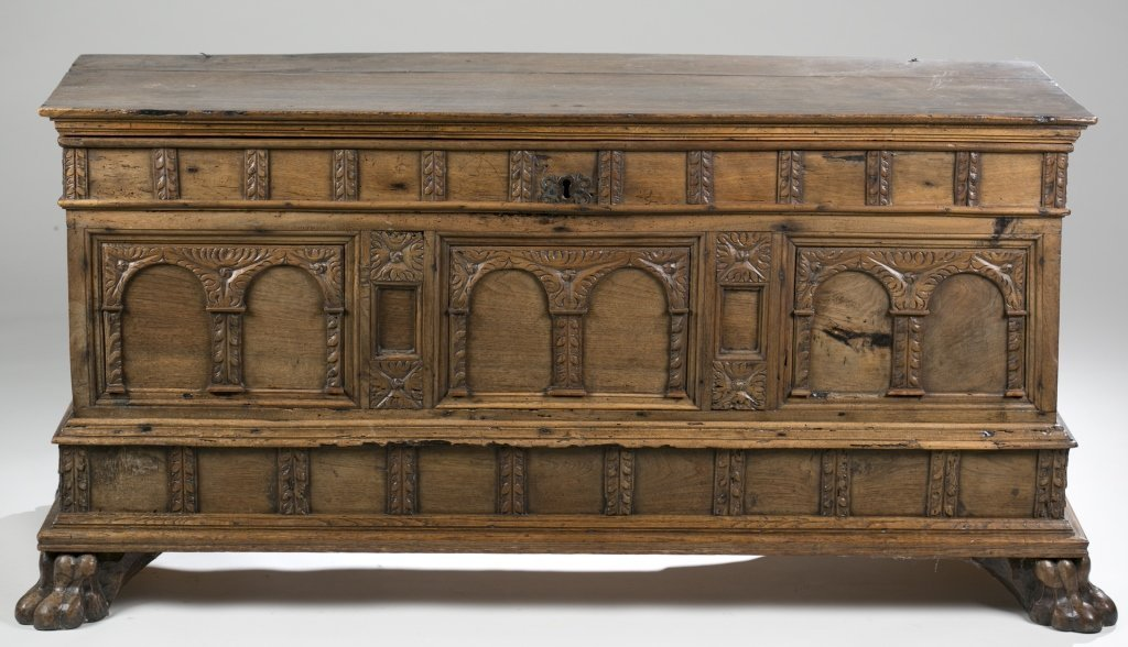 18th c. Continental Carved Oak Cassone.