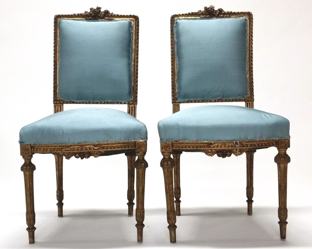 Pair of Early 19th c. Louis XVI Side Chairs.
